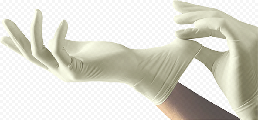 Wearing White Medicine Paramedical Gloves