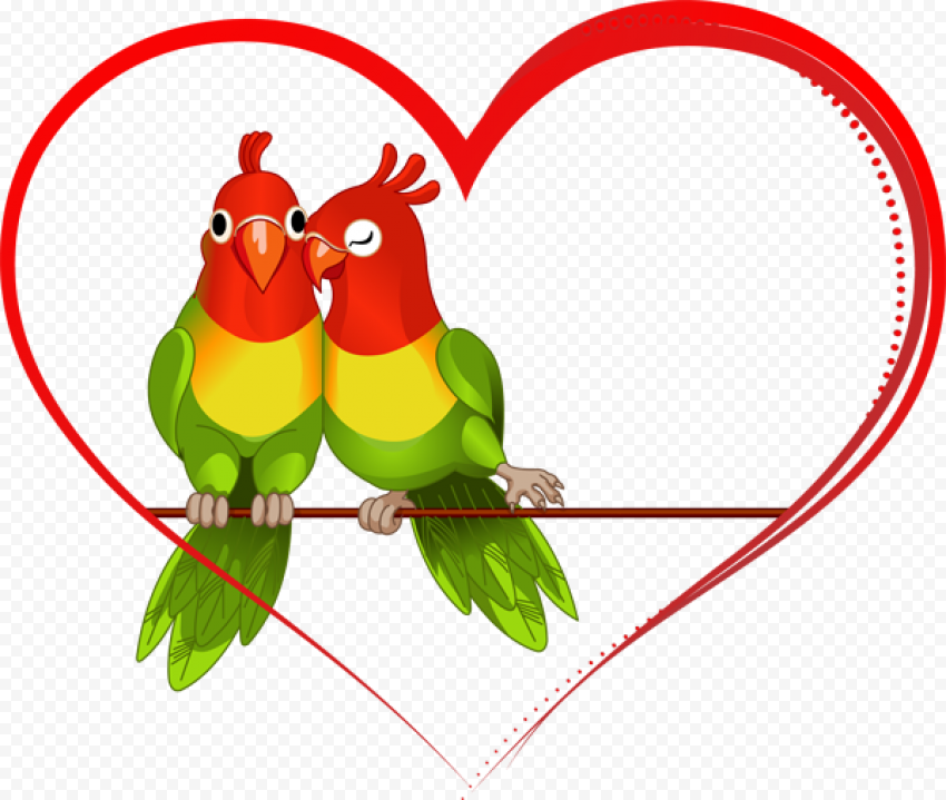 Wedding Red Outline Heart Budgie Love