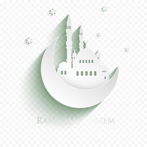 White Flat Ramadan Kareem Moon Mosque