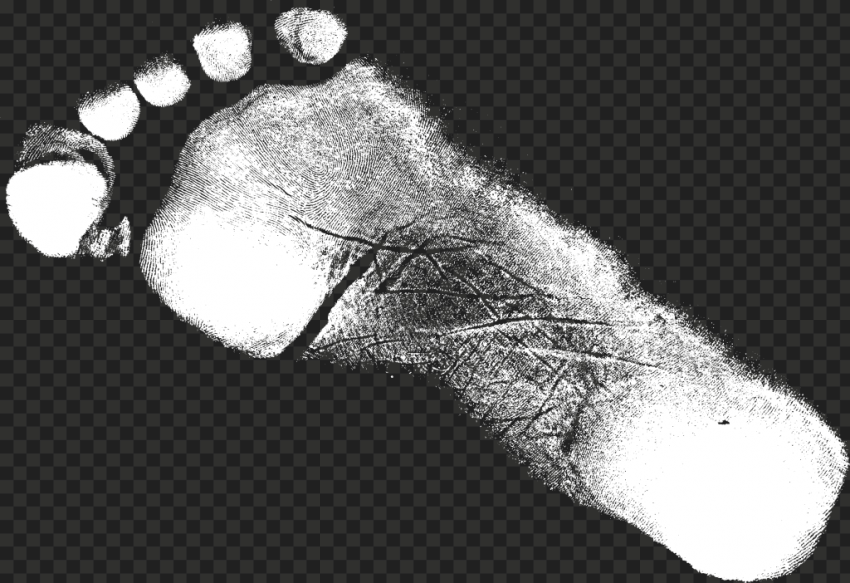 White Grunge Shoe Footprint Silhouette PNG