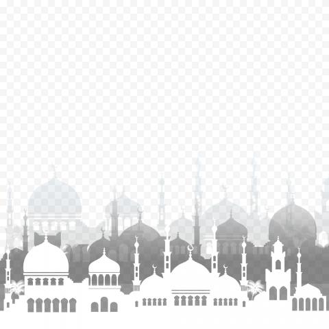 White Islamic Mosque Silhouette Ramadan Icon