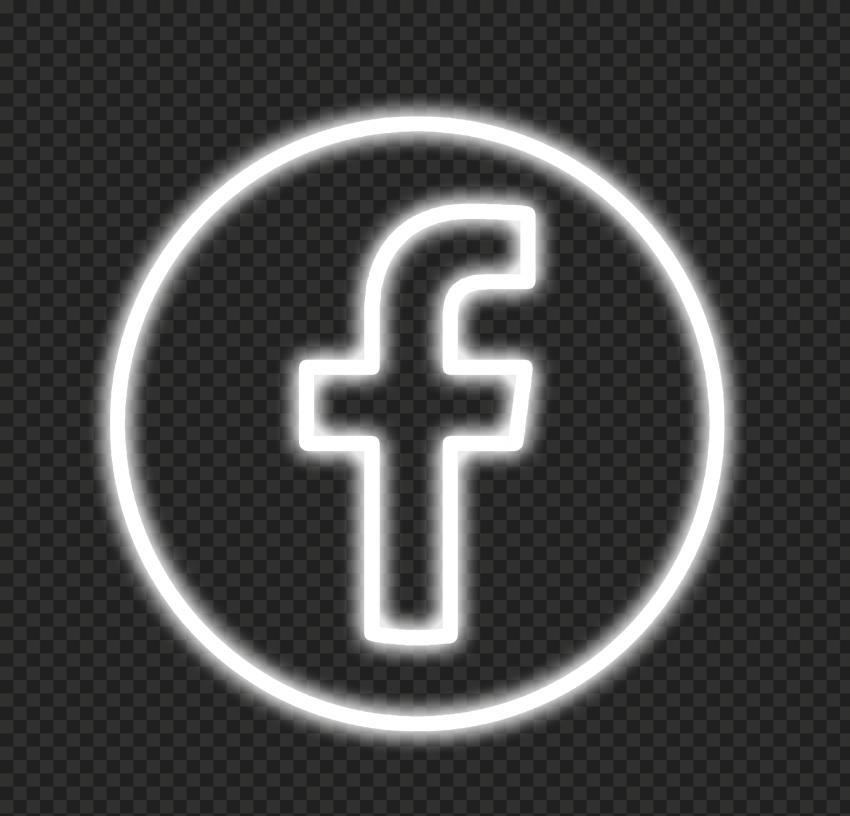 White Neon Facebook Logo Icon PNG