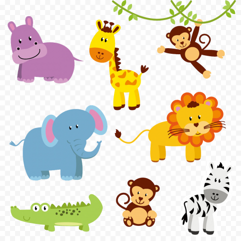 Wild Baby Cute Animals Clipart Cartoon Kids