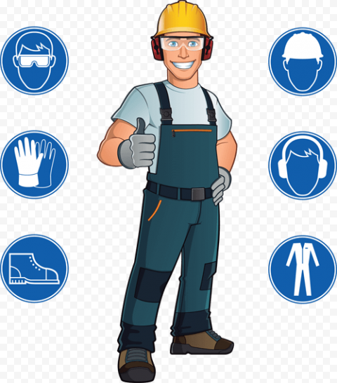 Worker Man Cartoon Signs PPE Protection Safety