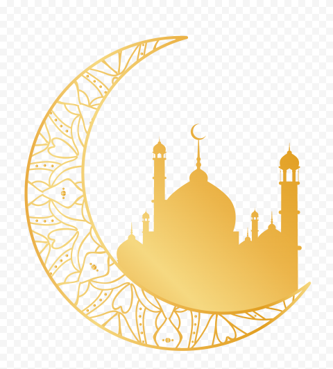 Yellow Gold Mosque Moon Ramadan Illustration