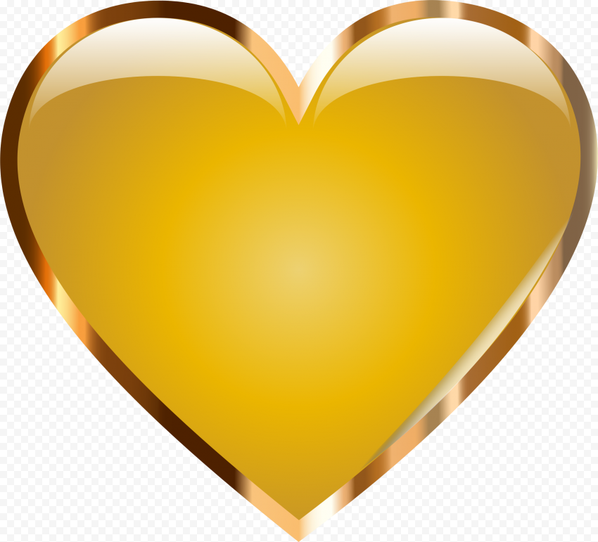 Yellow Heart Gold Border Transparent