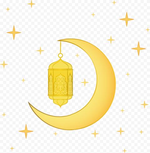 Yellow Illustration Ramadan Lantern Moon Stars