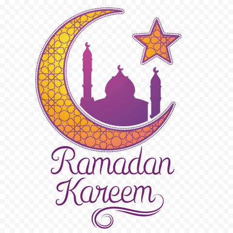 Yellow & Purple Mosque Moon Ramadan Kareem
