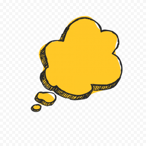 Yellow Thought Bubble Thinking 3D Speech