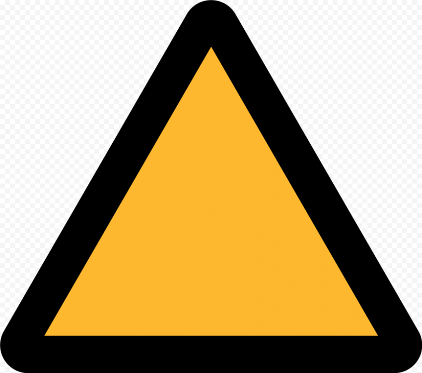 Yellow Triangle Blank Warning Caution Driving Road