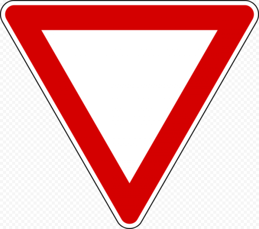 Yield Red Triangle Caution Road Traffic Sign