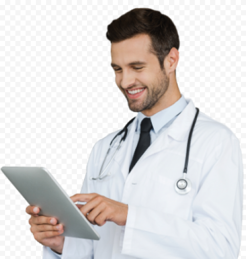 Young Happy Doctor Male Stethoscope Tablet